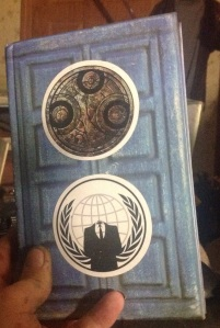 Gallifreyan and Anonymous stickers by ME.